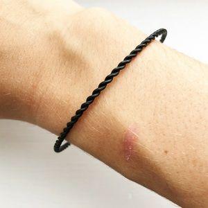 Vintage black twisted stacking bangle bracelet